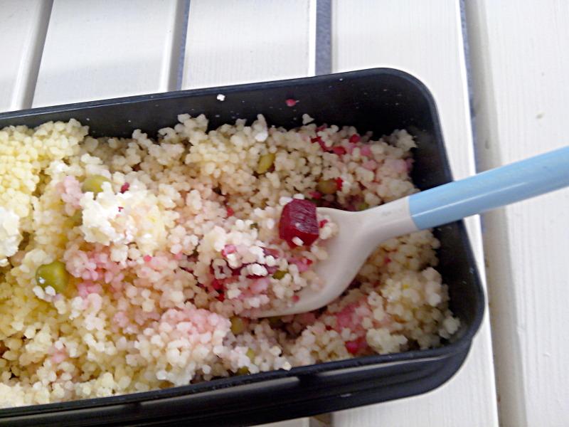 Bentô semoule et salade, ce qui était caché dessous