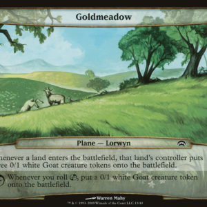 Whenever a land enters the battlefield, that land's controller puts three 0/1 white Goat creature tokens onto the battlefield. Whenever you roll [chaos], put a 0/1 white Goat creature token onto the battlefield.