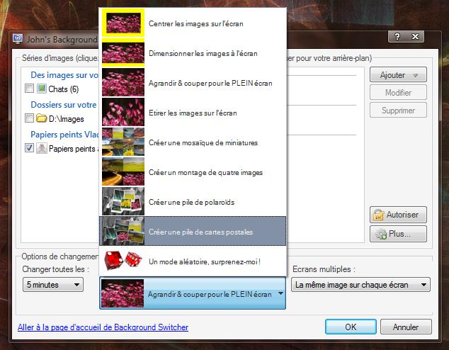 JBS, les différents modes d'affichage des images