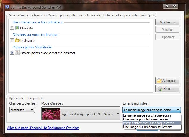 JBS, gestion du multi-écran