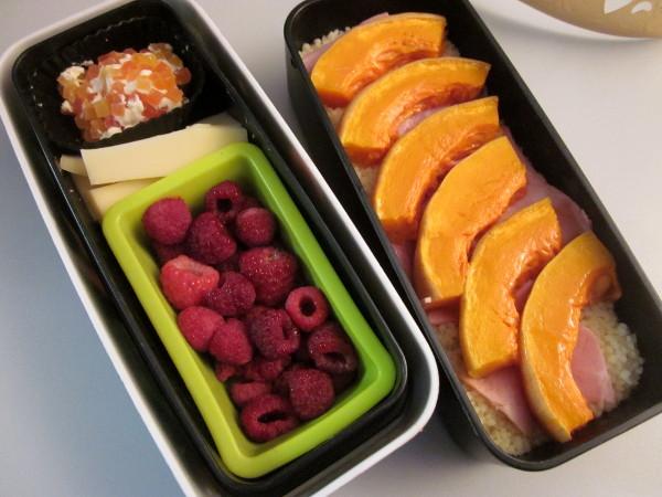 Bento butternut, jambon, et framboises