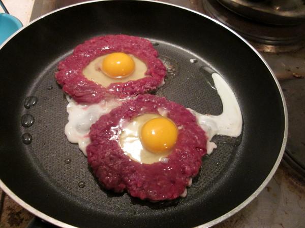 Steaks en cuisson