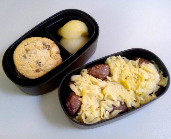 Bentō pâtes boulettes et cookies