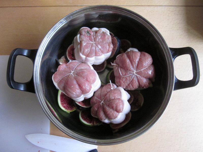 Paupiettes aux figues, deuxième étape : déposer les paupiettes